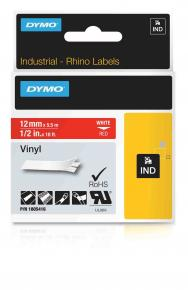 Image for product 'Dymo 1805416 RhinoPRO vinyl [12mm x 5.5m White/Red]'
