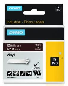 Image for product 'Dymo 1805412 RhinoPRO vinyl [12mm x 5.5m White/Brown]'