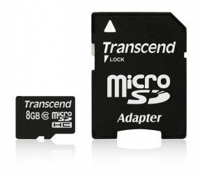 Image for product 'Transcend TS8GUSDHC10 MicroSDHC CARD [8GB Class10]'