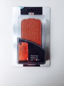 Ecat ECCLTIP401C iPhone4 case [Glanzend Bruin Leer look]