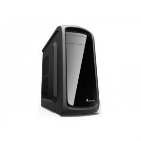 ADJ 200-00037 B166 Glossy Midi-Tower [ATX,  2x USB3.0, CR, No PSU, Transparant Front, Black]