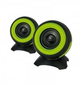 Image for product 'ADJ 760-00011 SP025 Sphere Speaker Set [2x 6W, 2.0CH, USB Powered, 4O, 85Hz-20KHz, >60dB, Green]'