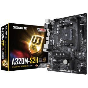 Image for product 'Gigabyte GA-A320M-S2H [uATX, AM4, AMD A320, 2x DDR4-2667 DIMM, 1x PCIe x16, 1x M.2, 2x USB3.1]'