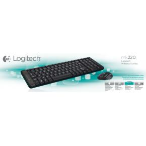 Image for product 'Logitech 920-003161MK220 Mini Keyboard/Mouse desktop Combi set [RF Wireless/ Optical, Scroll, Black]'