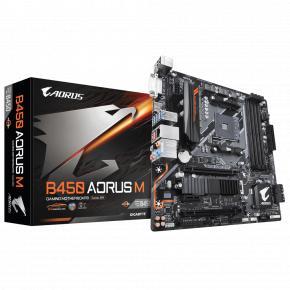 Image for product 'Gigabyte B450 AORUS M [uATX, AMD AM4, B450, 4x DDR4 DIMM 3200Mhz, Quad-CF, USB3.1 Gen2, M.2 NVME]'