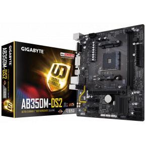 Image for product 'Gigabyte AB350M-DS2 [mATX, AMD AM4, B350, 2x DDR4 DIMM, 3200MHz, USB3.1 Gen2, M.2]'