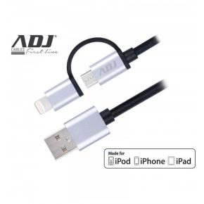 Image for product 'ADJ 110-00099 2-in-1 Lightning cable [Lightning/Micro USB, Nylon, 1.5m]'