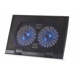 """Image for product 'Conceptronic THANA 02B Notebook Cooling Pad [7"""" max, 2x ultra-silent fans (125mm) Blue LED, Black]'"""