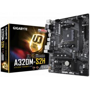 Image for product 'Gigabyte GA-A320M-S2H V2 [mATX, AMD AM4/ A320M, Ryzen, 2x DDR4-2667, M.2, SATA3, USB3.1, GBLAN]'