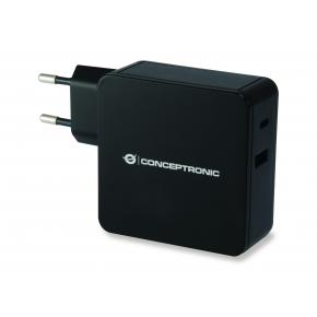 Image for product 'Conceptronic ALTHEA02B ALTHEA 02B USB PD Fast Charger [USB Type-C, 2x USB Type-A, upto 60W, Black]'