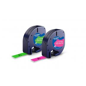 Image for product 'Dymo 1956290 LetraTag LETRATAG Plastic Label Tape Pack of 2 [12mm x 4m - Pink & Green Neon Colours]'