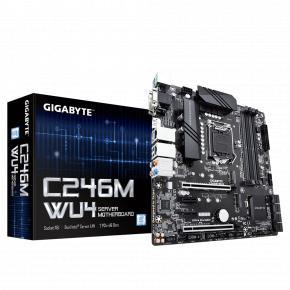 Image for product 'Gigabyte C246M-WU4 [Intel LGA1151, C246, Intel® Xeon®, 4x DDR4 ECC, M.2, USB3.1 Gen2 Type-C, TPM]'