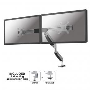 "Image for product 'Newstar NM-D725DXSILVER Flat screen desk mount [5 kg, 10 - 27"", 100x100mm, Height adjust, Silver]'"