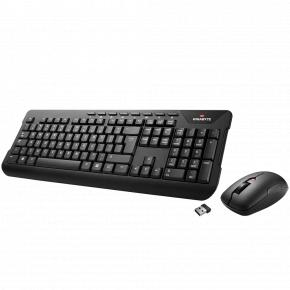 Image for product 'Gigabyte KM7590 Wireless Keyboard w/ Mouse [USB, Membrane, 2.8mm, 1300 DPI, Black]'