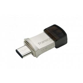 Image for product 'Transcend TS128GJF890S JetFlash®890 Mini USB Stick [128GB, USB Type-A/ Type-C, Silver]'