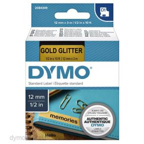 Image for product 'Dymo 2084349 D1 TAPE [12MM X 3M, BLK/GLD, GLITTER]'