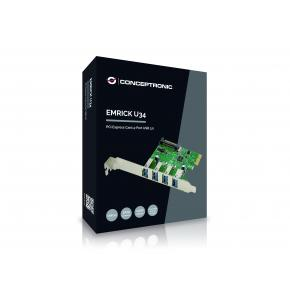 Image for product 'Conceptronic EMRICK02G PCIe Card, USB 3.2 Gen 1 (3.1 Gen 1) Green, PC, Passive'