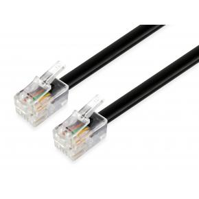 Image for product 'Equip 105102 Telephone Flat Cable [RJ-11, 4P/4C, Male/Male, Flat, 3 m, Black]'