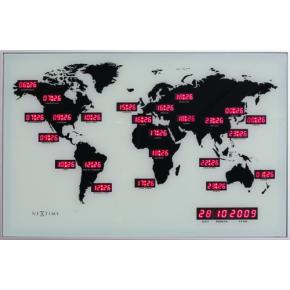 Image for product 'NeXtime 2897 World Time Digit [55x36 cm, Silver]'