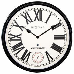 Image for product 'NeXtime klok 3128zw Amsterdam, Ø51,7 cm, Wall, Black'