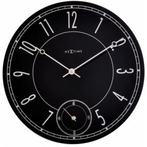 Image for product 'NeXtime klok 8144 Leitbring, Ø43 cm, Wall, Black/ Silver glossy'