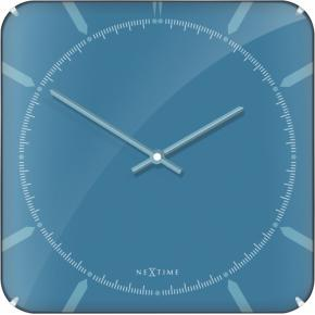 Image for product 'NeXtime 3172 Michael Square Dome Wandklok [35x35 cm, Glas, Blauw]'