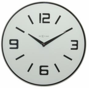 Image for product 'Nextime 9149wi Shuwan wandklok [Ø 43, glas, 3 cm, wit/zilver]'