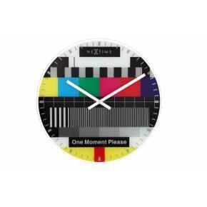Image for product 'NeXtime klok 8607en Testpage, Ø43 cm, Wall, Glass, 3 cm, Black/ Multi-color'