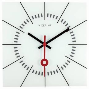 Image for product 'Nextime 8636wi Stazione wandklok [35x35, 3 cm, glas, wit]'