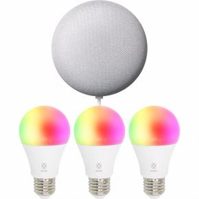 Image for product 'WOOX R1000 Smart Speaker Kit 3x R4553 + 1x Google Nest Mini Chalk [RGB LED Bulb, E27, 7W, 600LM]'