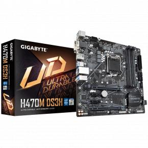 Image for product 'Gigabyte H470M DS3H [LGA1200, Intel H470M, 4x DIMM DDR4, USB3.1 Type-C, GBLAN, CFX]'