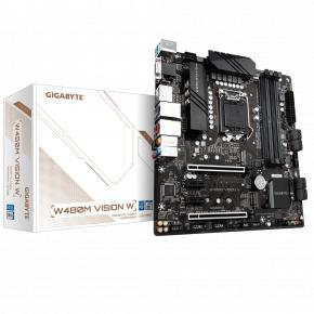 Image for product 'Gigabyte W480M VISION W [Intel LGA1200, W480M, DIMM DDR4-4266, M.2, SATA3, USB3.2 Gen 2, TPM]'