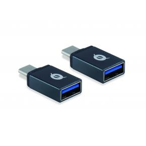 Image for product 'Conceptronic DONN03G DONN USB-C to USB-A OTG Adapter 2-Pack, USB 3.1 Gen 1, Male/ Female, Black]'