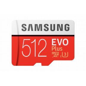 Image for product 'Samsung MB-MC512HA/EU Evo Plus MicroSDXC Card, 512 GB, Class 10, UHS-I, 100 MB/s, 90 MB/s'