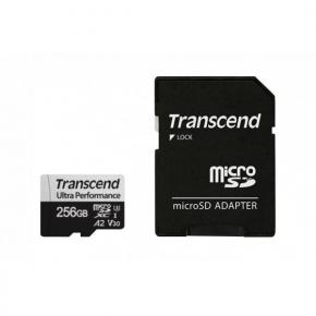 Image for product 'Transcend TS256GUSD340S MicroSDXC w/ adapter [256GB, UHS-I U3, V30, A2, 3D NAND, 160/ 125 MB/s]'