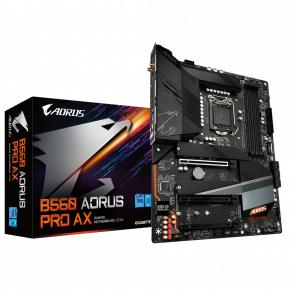 Image for product 'Gigabyte B560 AORUS PRO AX ATX, Intel, LGA1200, 4x DIMM DDR4, 128 GB, M.2, USB 3.2, TPM, Wi-FI 6'