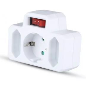 Image for product 'WOOX NS-OEM010 Stekker met 3 sockets en aan/uit schakelaar, 2* 2.5A smalle sockets en 1* 16A'